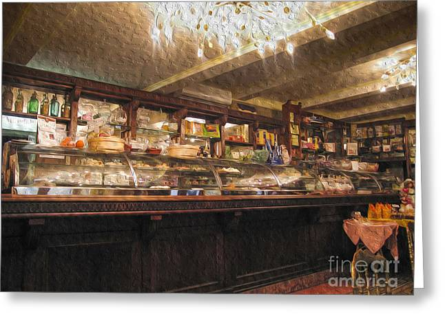 Italian Restaurant Digital Greeting Cards - Inside a cafe in Italy Greeting Card by Patricia Hofmeester