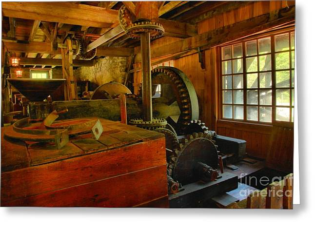 Spring Mill Greeting Cards - Inside A Grist Mill Greeting Card by Adam Jewell
