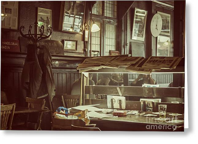 Reading The Paper Greeting Cards - Inside a pub in Amsterdam Greeting Card by Patricia Hofmeester