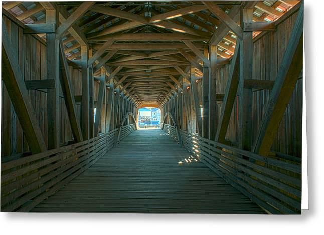 Bridgeton Covered Bridge Greeting Cards - Inside an Antique Greeting Card by Thomas Sellberg