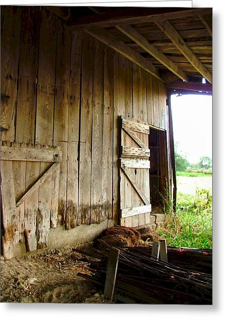 Julie Dant Photographs Greeting Cards - Inside an Indiana Barn Greeting Card by Julie Dant