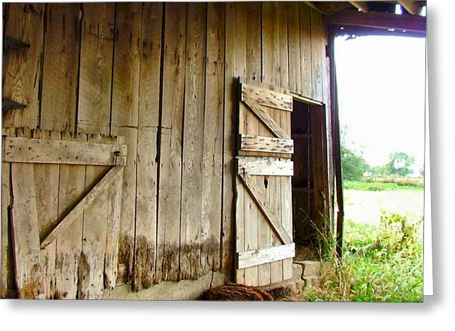 Inside an Indiana Barn Greeting Card by Julie Dant