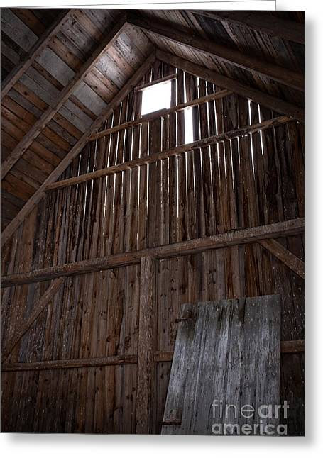 Old Barns Greeting Cards - Inside an old barn Greeting Card by Edward Fielding