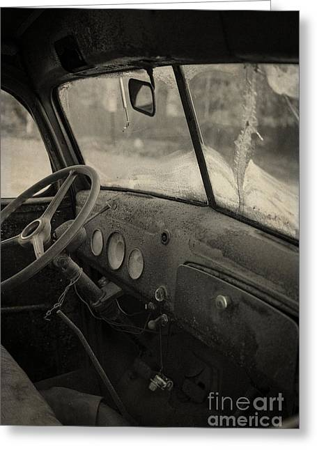 Windshield Greeting Cards - Inside an old junker car Greeting Card by Edward Fielding