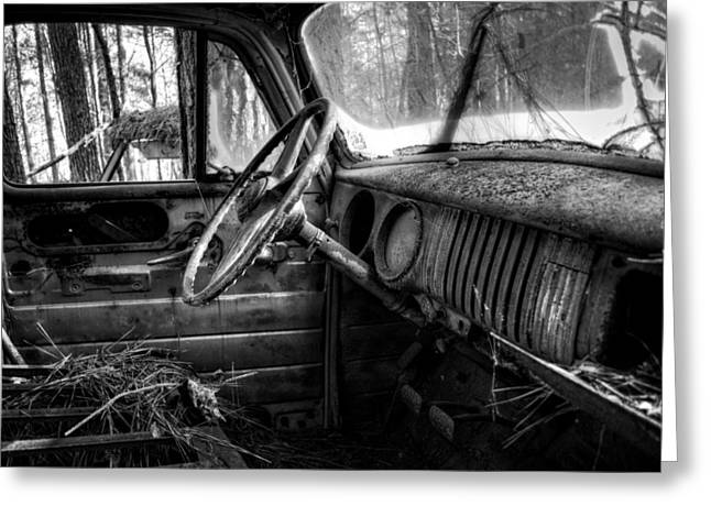 Old Trucks Greeting Cards - Inside An Old Truck in Black and White Greeting Card by Greg Mimbs