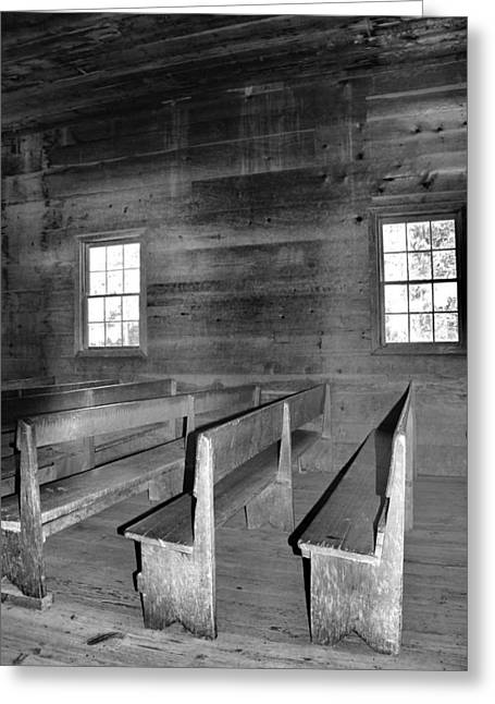 Gatlinburg Tennessee Greeting Cards - Inside Cades Cove Primitive Baptist Church Greeting Card by Dan Sproul