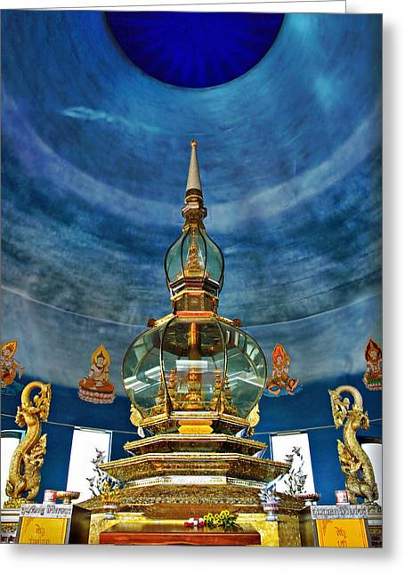 Suradej Greeting Cards - Inside Crystal Pagoda Greeting Card by Suradej Chuephanich