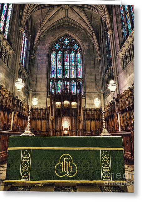 Duke Greeting Cards - Inside Dukes Chapel Greeting Card by Emily Enz
