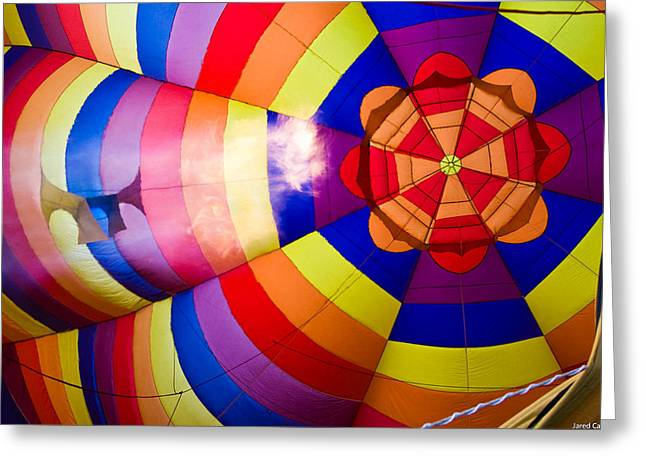 Balloon Fiesta Greeting Cards - Inside hot air balloon Greeting Card by Jared Campbell
