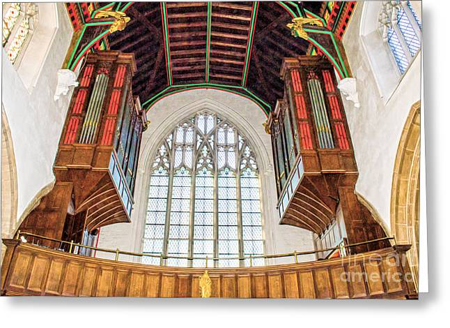 Intruments Greeting Cards - Inside Leicester City Cathedral Greeting Card by Linsey Williams