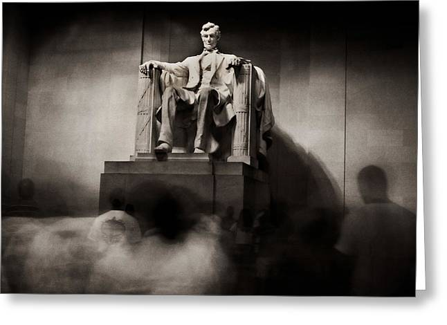 Civil Rights Greeting Cards - Inside Lincoln Memorial At Night Greeting Card by Greg and Chrystal Mimbs
