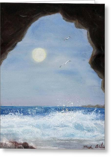 Caves Pastels Greeting Cards - Inside Looking Out Greeting Card by Trish Bilich