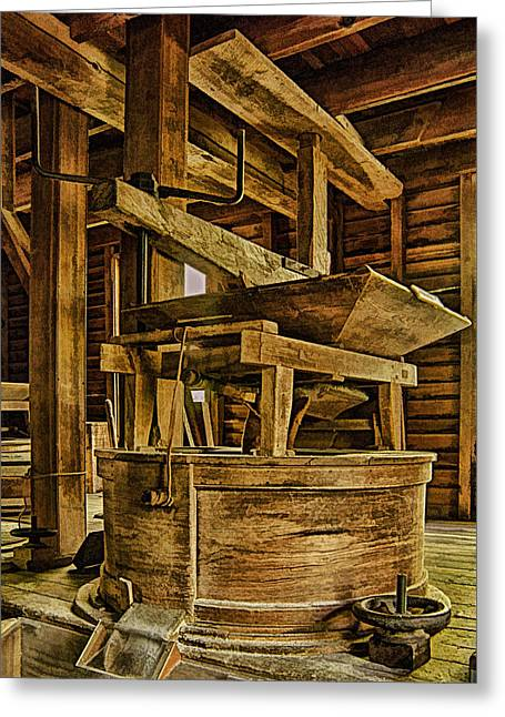Overalls Digital Art Greeting Cards - Inside Mingus Grist Mill Greeting Card by Priscilla Burgers