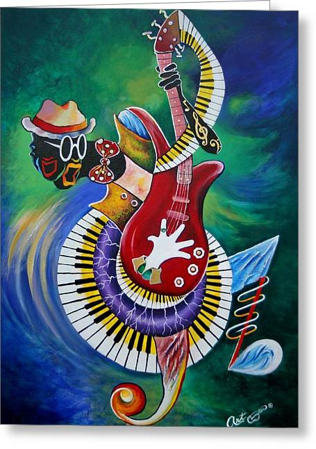 Picaso Greeting Cards - Inside My Music V Greeting Card by Arthur Covington