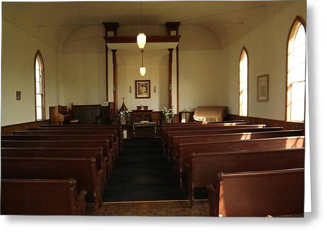 Altering Greeting Cards - Inside Of An Old Church In Maryhill Washington Greeting Card by Jeff  Swan