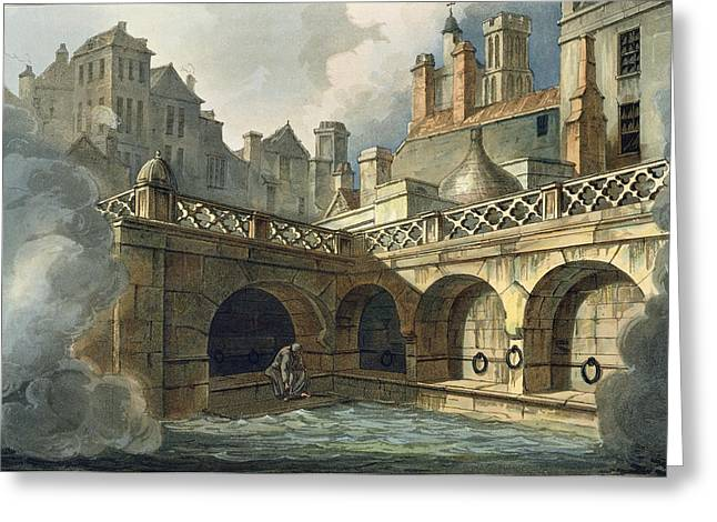 Spa Drawings Greeting Cards - Inside Of Queens Bath, From Bath Greeting Card by John Claude Nattes