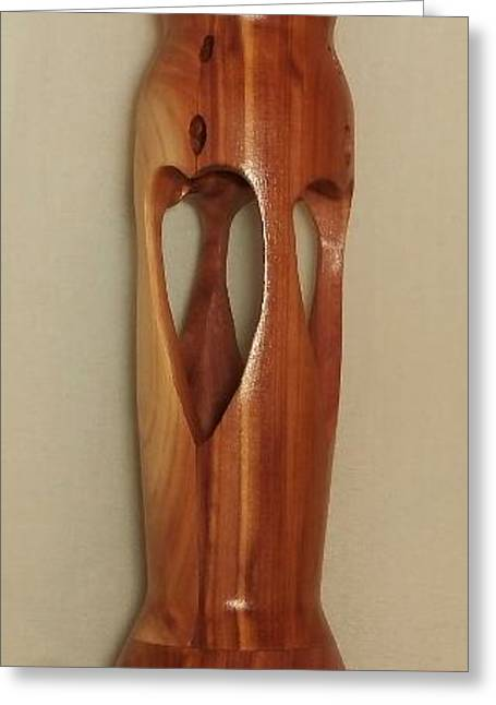 Cedar Sculptures Greeting Cards - Inside-Out Red Cedar Vase Greeting Card by Russell Ellingsworth