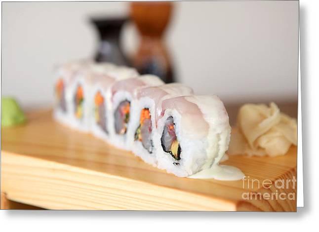 Inside Out Greeting Cards - Inside out Tuna Sushi Greeting Card by Oren Shalev