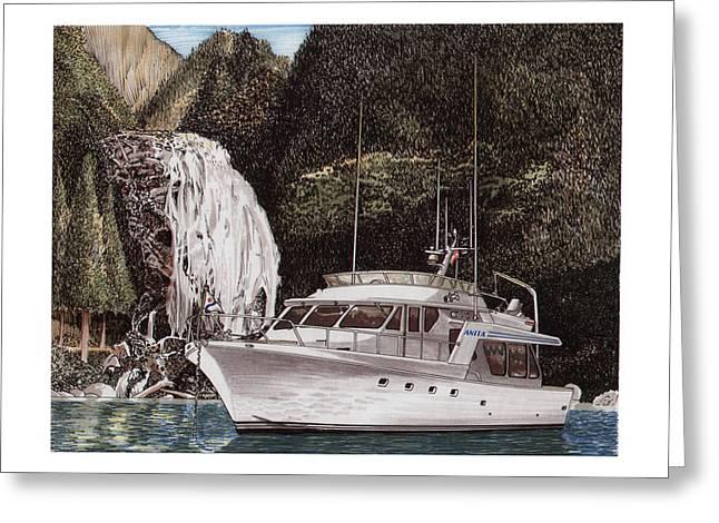 British Columbia Drawings Greeting Cards - Anchored at Chatterbox Falls B C  Greeting Card by Jack Pumphrey