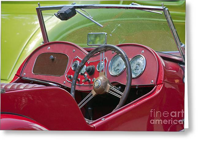 Steering Greeting Cards - Red MG-TD Convertible  Greeting Card by Terri  Waters