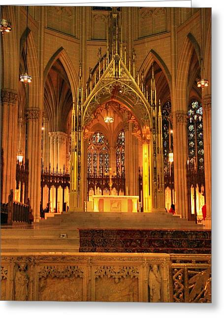 Saint Joseph Greeting Cards - Inside Saint Patrick Church Greeting Card by Dan Sproul