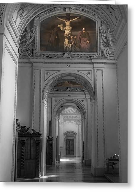 Passageways Greeting Cards - Inside Salzburg Cathedral Greeting Card by Chris Fletcher