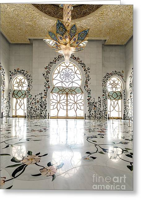 Sheikh Zayed Mosque Greeting Cards - Inside Sheikh Zayed Grand Mosque - Abu Dhabi Greeting Card by Matteo Colombo