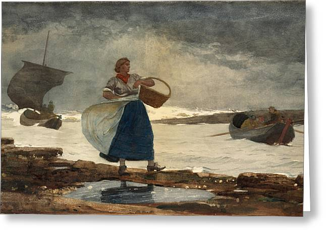 Winslow Homer Drawings Greeting Cards - Inside the Bar Greeting Card by  Winslow Homer