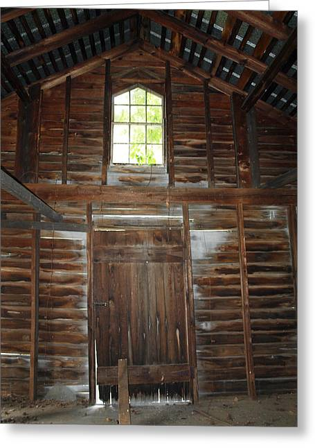 Log Cabins Greeting Cards - Inside The Barn Greeting Card by Robert Margetts