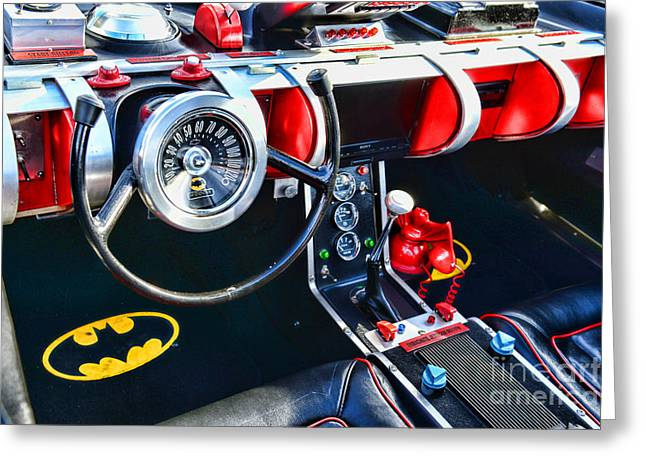Kustom Greeting Cards - Inside the Batmobile Greeting Card by Paul Ward