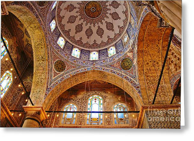 Acrylic Calligraphy Print Greeting Cards - Inside the Blue Mosque Greeting Card by MaryJane Armstrong