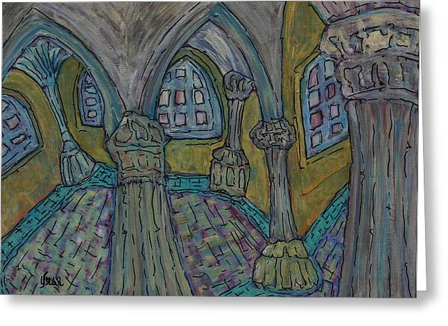 Prague Paintings Greeting Cards - Inside the Castle Greeting Card by Oscar Penalber