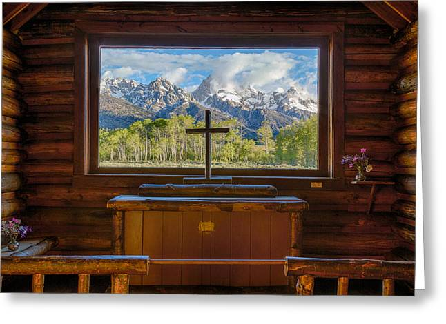 Recently Sold -  - Snow Capped Greeting Cards - Inside the Chapel Greeting Card by Mark Steven Perry