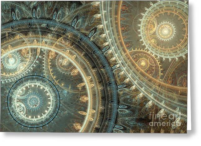 Gearing Greeting Cards - Inside the clock Greeting Card by Martin Capek