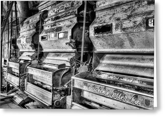 Inside The Cotton Gin Black And White Greeting Card by JC Findley