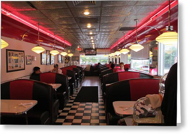 Inside The Diner Greeting Card by Randall Weidner