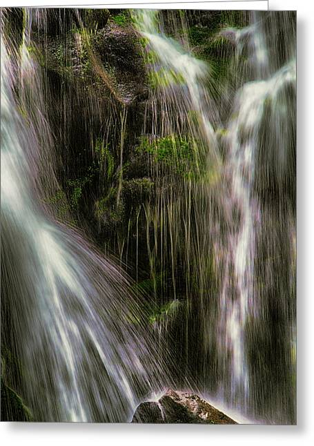 Ledge Mixed Media Greeting Cards - Inside the Falls Greeting Card by John Haldane