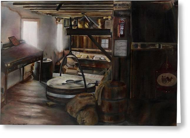 Inside The Flour Mill Greeting Card by Lori Brackett
