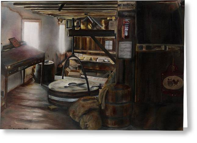 Old Feed Mills Paintings Greeting Cards - Inside the Flour Mill Greeting Card by Lori Brackett