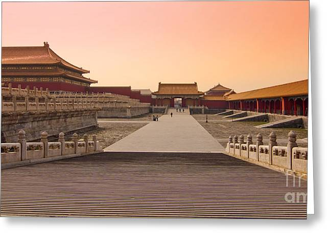 Amazing Sunset Greeting Cards - Inside the Forbidden City Greeting Card by Delphimages Photo Creations