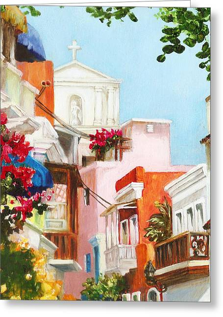 Old San Juan Paintings Greeting Cards - Inside the Gate Greeting Card by Monica Linville