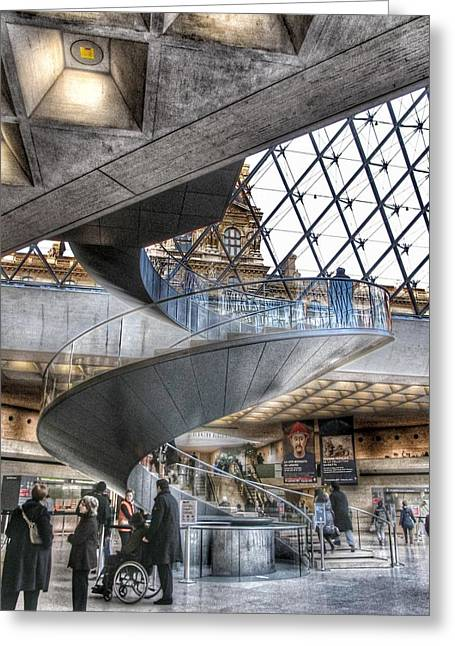 High Stepping Greeting Cards - Inside The Louvre Museum in Paris Greeting Card by Marianna Mills