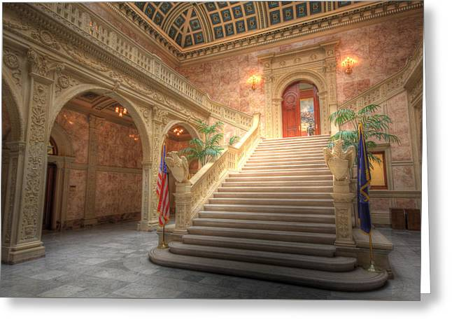 Republican Greeting Cards - Inside the Matthew J. Ryan Building Greeting Card by Shelley Neff