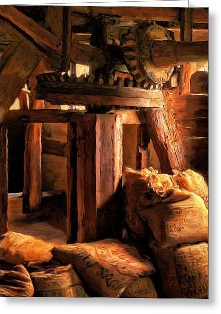 Wooden Building Paintings Greeting Cards - Inside the Old Mill Greeting Card by Michael Pickett