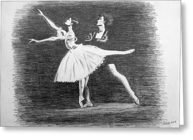 Ballet Dancers Drawings Greeting Cards - Inside the Opera House Greeting Card by Uma Krishnamoorthy