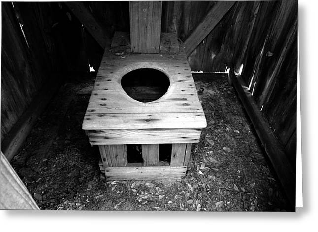Wooden Outhouse Greeting Cards - Inside the Outhouse Greeting Card by David Lee Thompson
