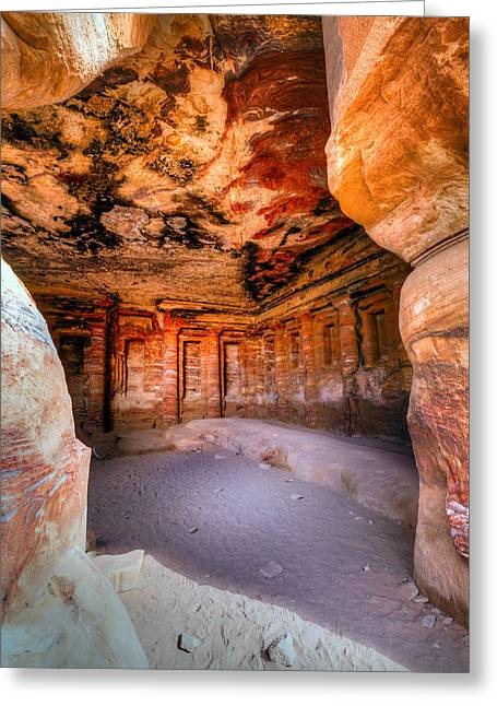 Petra - Jordan Greeting Cards - Inside the tomb Greeting Card by Alexey Stiop