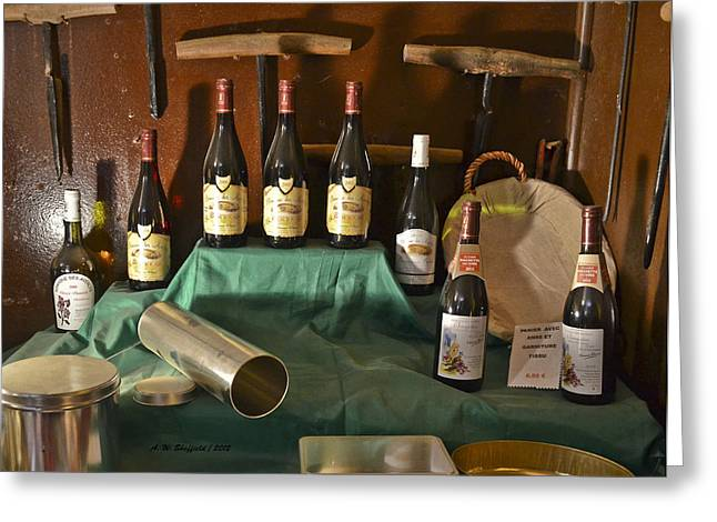 Beaujolais Greeting Cards - Inside the Wine Cellar Greeting Card by Allen Sheffield