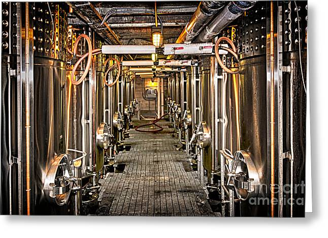 Winemaking Photographs Greeting Cards - Inside winery Greeting Card by Elena Elisseeva