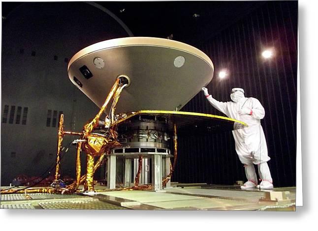 Insight Mars Lander Testing Greeting Card by Nasa/jpl-caltech/lockheed Martin